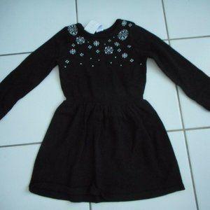 NWT GYMBOREE Girls Sweater Dress Black Snowflakes
